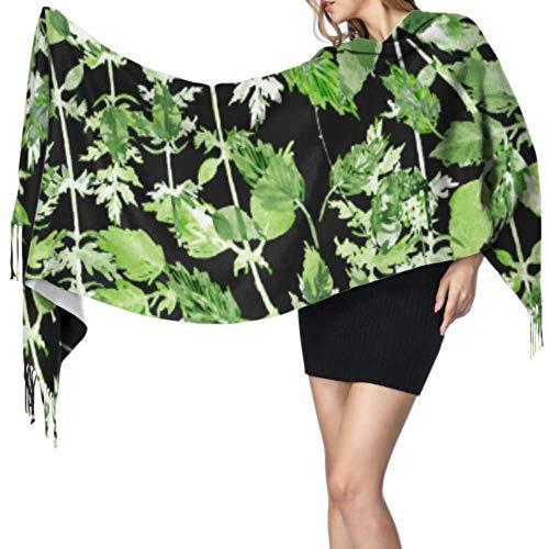 Yushg Grüner organischer kreativer Sellerie-Gemüseschal Unisex-Schals Wraps Frauen-Kaschmirschal 196x68cm große weiche Pashmina extra warm