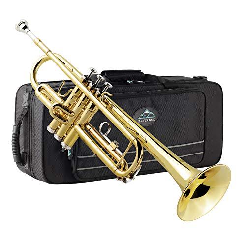 Eastrock Trompete Standard Blechbläser Bb Schwarz Nickel Graviertes Trompeteninstrument mit Hartschalenkoffer, Trompetenständer mit fünf Beinen, Handschuhen, 7C-Mundstück (golden)