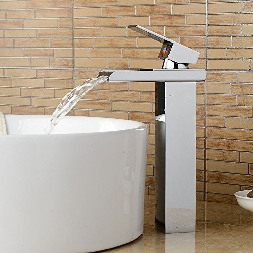 Grifo mezclador para lavabo, WATER TOWER moderno con cuerpo de latón y cuerpo de grifo de lavabo, galvanoplastia por encima de la cuenca del mostrador de agua caliente y fría, grifo de cobre para cascada