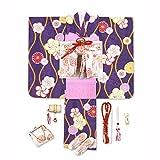 七五三 7歳 着物 フルセット 女の子 レトロ 古典柄の子供着物セット 合繊「紫 梅に立涌」OYM587f21PP