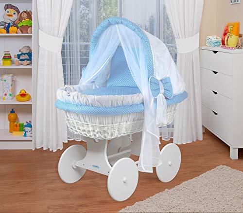 WALDIN Baby Stubenwagen-Set mit Ausstattung,XXL,Bollerwagen,komplett,44 Modelle wählbar,Gestell/Räder weiß lackiert,Stoffe weiß/blau