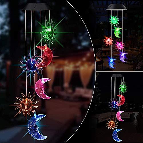 VSTON Windspiel für den Außenbereich, solarbetrieben, LED, solarbetrieben, Mond, Windspiel, Lampe mit Farbwechsel, wasserdicht, dekorativ, für den Außenbereich, für Garten, Terrasse, Hof