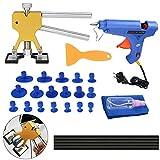 KKmoon Dent Repair Kit Herramientas Eliminador de Abolladuras de Carroceria 33PCS Herratamientas de Reparacion de Abolladuras y Pistola de Pegamentos para Coche
