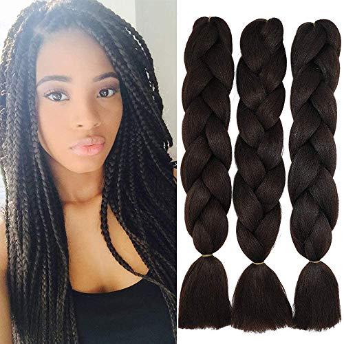 Cybellezza 3 Pièces Tressage Extension de Cheveux Braiding Hair Synthétique Kanekalon Jumbo Braids Meches Cheveux pour Tressés Africaine, 60cm 300g Brun moyen