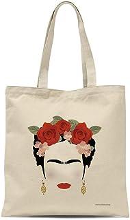 all sas Borsa shopper Frida Kahlo 100% tela di cotone stampa Made in Italy