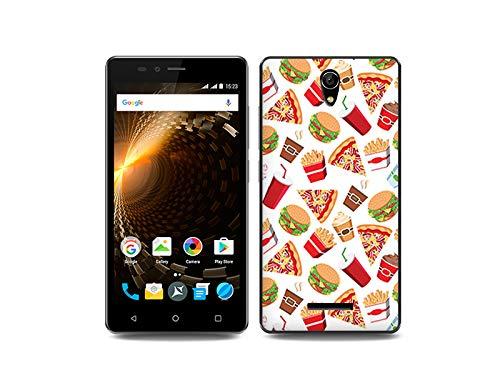 etuo Handyhülle für Allview P6 Energy Lite - Hülle, Silikon, Gummi Schutzhülle Fantastic Case - Fast Food