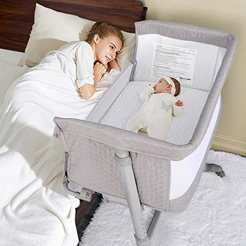 kidslcub Baby Bassinet with Wheels, Bedside Crib for Baby, Bed to Bed Newborn Bedside Sleeper, Adjustable Lightweight Baby Bed for Newborn Girl/Boy Infant, Washable Sheet & Waterproof Mattress