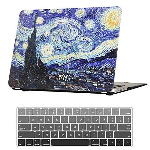 """Capa FANCITY MacBook Air 11 polegadas de plástico rígido fosco e capa de teclado e plugue à prova de poeira para A1370 A1465 MacBook Air 11, dia chuvoso brilhante, 02 Starry Night, A2251 A2289 Pro 13"""" Retina Touch Bar 2020"""