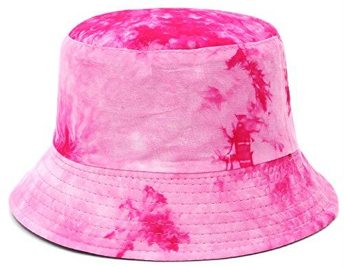 EOZY - Sombrero para mujer o hombre, estilo vintage, transpirable, plegable, estampado Tie-Dye fucsia 58