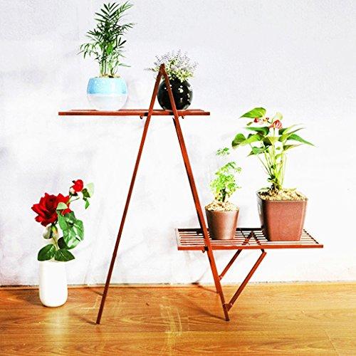 Une étagère de fleur de fer forgé de type, étagère de fleur de plancher-debout multi-couche, support créatif simple de salle de séjour d'intérieur de balcon de bonsaï de fleur, 74 * 25 * 70cm ( Color : Brown )