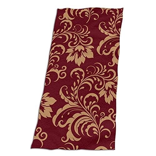 "Flower Maroon Gold Floral Classy Burgundy Bathroom Towels Best Bath Towels Spa& Luxury Hotel 100% Superfine Fiber Quick-Drying Soft Absorbent Towel 32""x64"""