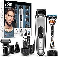 Braun MGK7020 10 en 1, Máquina recortadora barba y cortapelos todo en uno con afeitadora cuerpo, nariz y orejas,...