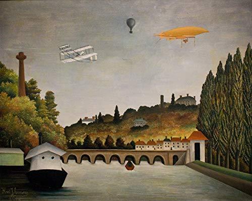 Vue du pont à Sèvres par Henri Julien Rousseau. 100% peint à la main. Reproduction de haute qualité. Livraison gratuite (non encadrée et non étirée). Taille de la peinture: 121,9x96,5 cm.