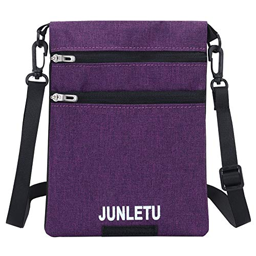 Canvas Small Cute Crossbody Bag Pouch Cell Phone Purse Wallet Holder Multi Zip Pocket for iPhone XS Max XR 8 Plus 7 6/ Galaxy S10+ S9+ S8 S10e Note 9 A10/ Google Pixel 3a / LG V50 V40 (Purple/Black)