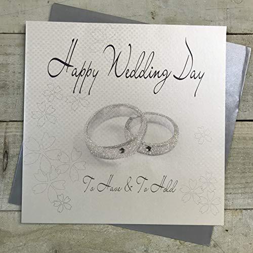 White Cotton Cards XLWB6 ringen, Happy Wedding Day, extra grote trouwkaart, handgemaakt, wit