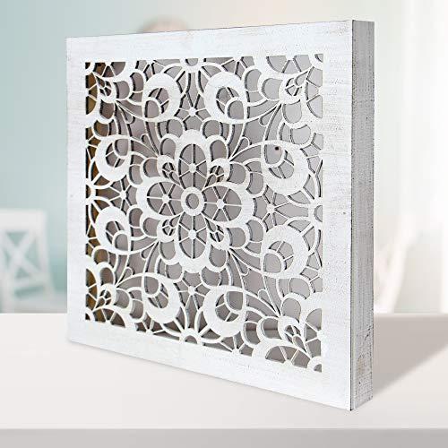 Cuadro Mandala de Pared Calada, Fabricada artesanalmente en España- Mandala 3D Cuadrada Pintada a Mano (120 Blanco Envejecido, 50x50 cm)