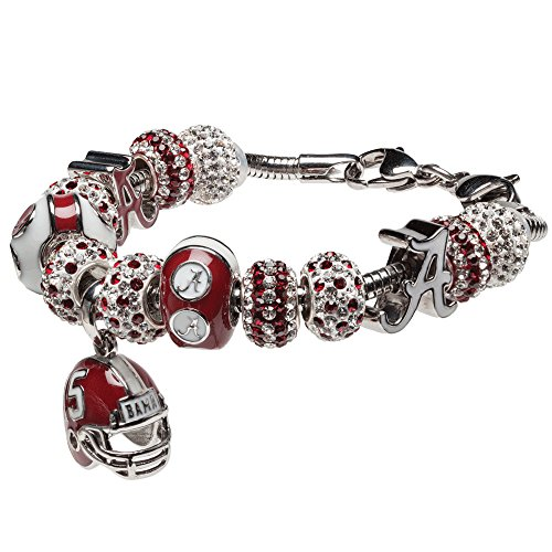 University of Alabama Charm Bracelet | Crimson Tide Gifts | Stainless Steel Alabama Jewelry | Alabama Helmet Charm Bracelet