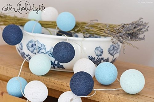 Lichtketting textiel bal slinger lampions Big Blue 10, 20, 35 of 50 bollen Katoen Ball Lights, Grootte: 20 Cotton Balls Loop