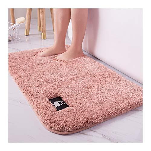 HONGBI rutschfeste Hochflor Badteppiche, Maschinenwaschbare Badematte, Badvorleger mit Wasserabsorbierenden, Weichen Mikrofasern Pink 60x90cm