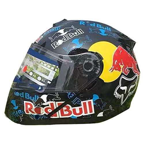 Motorradhelm Integralhelm mit Sonnenblende Red Bull Full-Face Motorrad-Helm Roller-Helm Scooter-Helm Cruiser Sturz-Helm ECE-geprüft Vier Jahreszeiten Unisex Helm A,XXL (63-64cm)