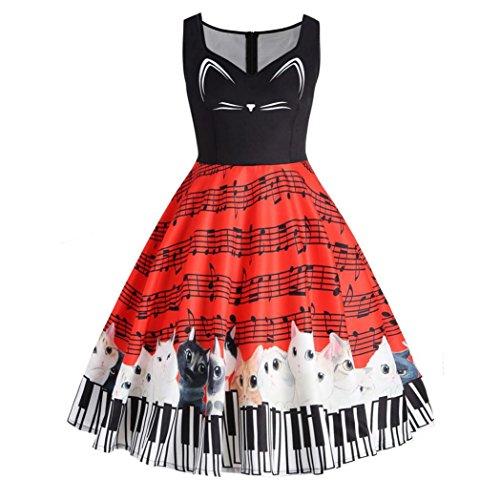 OVERDOSE Damen Cat Musical Note Sleeveless Kleid Vintage Spitzenkleid drucken Cocktail-Abendkleid