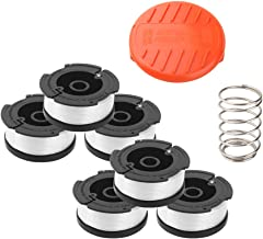 "Wolfish Weed Eater Spool 6 + 1 Pack 30ft 0.065"" Line String Trimmer Replacement Spool for Black+Decker AF-100 String Trimmers, (6 Replacement Spool, 1 Trimmer Cap, 1 Pack Spring)"
