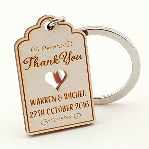 Summer-Ray 50 Personalized White Wooden Engraved Royale Keychain Wedding Favors