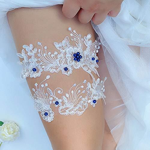 Egurs - Juego de ligueros de encaje para novia, 2 unidades, diseño de flores bordadas para boda y muslo con perla, 2#