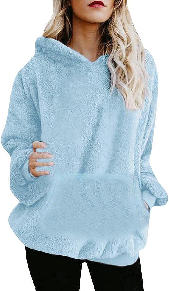 Yinella Women Button Oversized Sherpa Pullover Hoodies Fuzzy Fleece Hooded Sweatshirts Pockets Fluffy Sweaters Coats