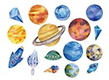 SanerLian Waterproof Temporary Fake Tattoo Stickers Watercolor Blue Planet Rocket Earth Set of 2