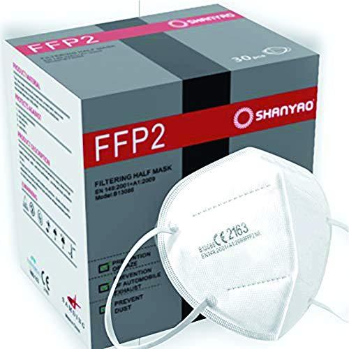 Shanyao 30x FFP2 Mundschutz/Atemschutzmaske/Mund und Nasenschutz/PDI Maske EN149:2001+A1:2009 EU2016/42 mit europäischer Zertifizierung Titolo articolo