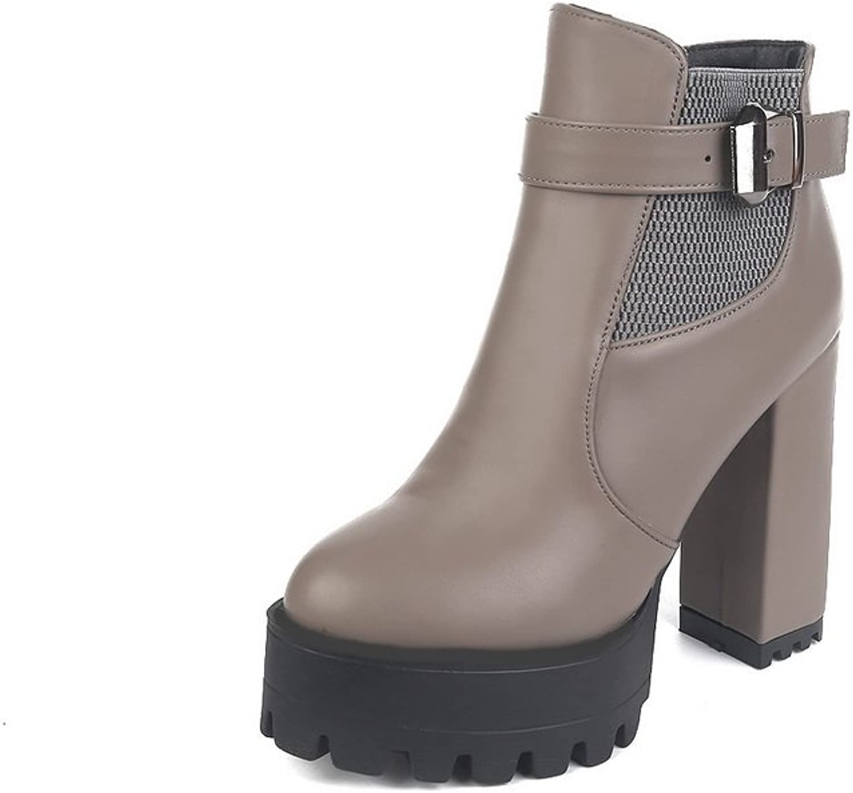 BalaMasa Womens Chunky Heels Solid Round Toe Imitated Leather Boots