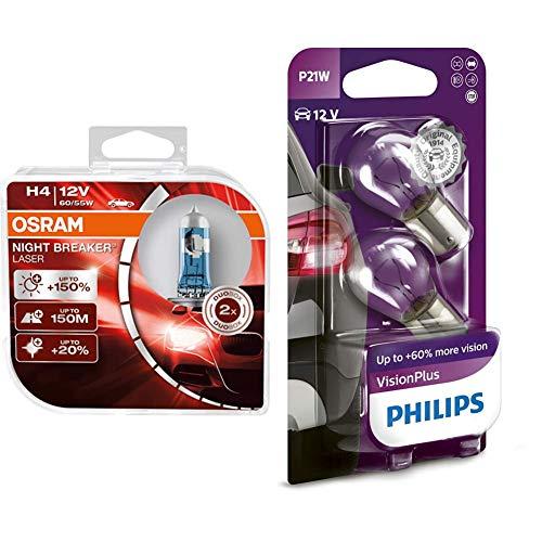Osram Night Breaker Laser H4 next Generation, +150% mehr Helligkeit, Halogen-Scheinwerferlampe, 64193NL-HCB, 12V PKW, Duo Box & Philips 12498VPB2 VisionPlus P21W Signallampe 12498VPB2, 2er Blister