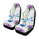 INTERESTPRINT Watercolor Blue Flowers and Dragonflies Universal Front Seat Covers Protectors for Car, Truck & SUV