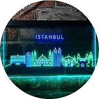 Istanbul City Skyline Silhouette Dual Color LED看板 ネオンプレート サイン 標識 緑色 + 青色 600 x 400mm st6s64-i3279-gb