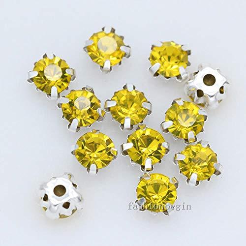 36 P 6 mm kleur om op kristallen strass-steentjes, zilverkleurig, met 4 gaten voor het naaien van sieraden, knoop voor bruidsjurk, het knutselen van parels
