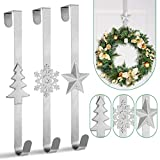 Whaline 3Pccs Christmas Wreath Hanger Over the Door Metal Wreath Hook Star Christmas Tree Snowflake Hook for Xmas Party Decor Door Wall Home Office, Silver, 15in
