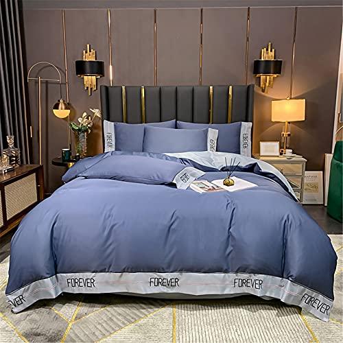 YYSZM Textiles para El Hogar Bordado Seda Lavada Sencillo Suave Y Cómodo Conjunto De 4 Piezas 200x230cm