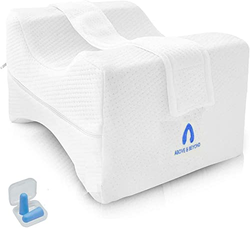 Knee Pillow for Side Sleepers - 100% Memory Foam Wedge Contour - Leg Pillow for Sleeping with Adjustable and Removabl...