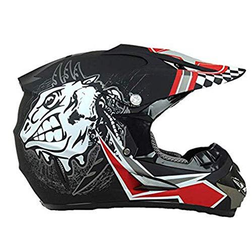 CZLWZZD Motorradhelm für Erwachsene Off-Road-Fahrer, DOT-zugelassen mit Schutzbrille Handschuhe Maske Fahrrad Downhill MTB DH-Rennradhelm Crash Cross Full Face Helme (52-59cm)