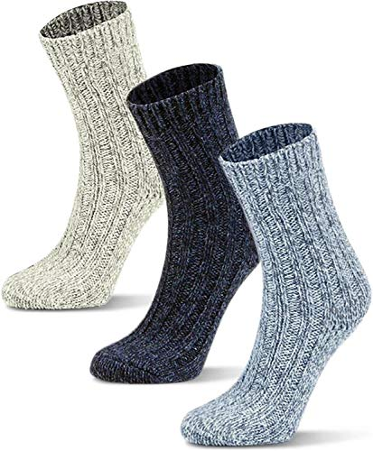Circle Five 3 Paar Wintersocken mit Schafwolle für Kinder - warme Wollsocken für Jungen und Mädchen Farbe Grau/Blau/Dunkelblau Größe 27-30