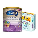 Enfamil Confort - Leche infantil para bebés lactantes con transtornos digestivos leves + Nenuco Dermosensitive - Toallitas bebé para Pieles Sensibles, Sin Alcohol - 216 unidades