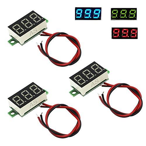 IZOKEE 3 Stück 0,36 Zoll Mini Digital Voltmeter LED-Anzeige, Messbereich DC 2,7-32V Zwei-Draht Spannungsprüfer, 3 Farben: Rot/Grün/Blau