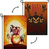 Happy Halloween Gartenflagge doppelseitig mit zwei Bildern
