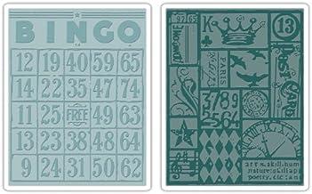 Sizzix Texture Fades Embossing Folders 2PK - Bingo & Patchwork Set by Tim Holtz