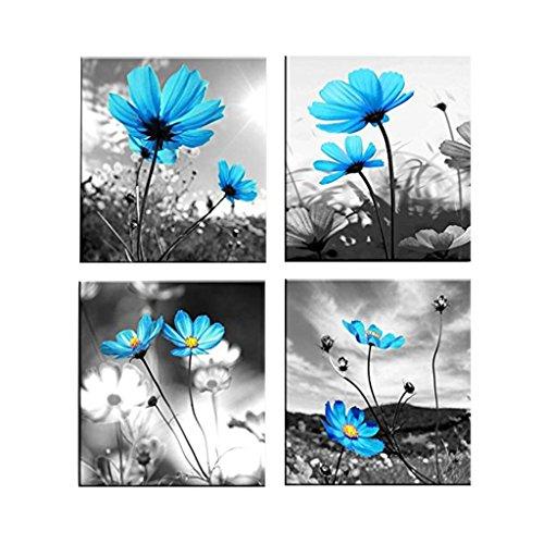 non-brand MagiDeal 4er-Set Bambus Sonnenaufgang Meditation Wandbilder Kunstdruck Leinwand Bilder für Wohnzimmer Schlafzimmer Dekor - Blaue Blume