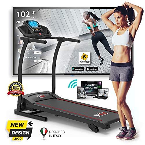 Cinta de correr, eléctrica, plegable con sensor cardíaco, reproductor de MP3, altavoces de 1500 W...