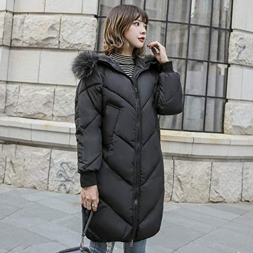 WJINNSH mantel, oversize winterjas, dik, met capuchon van katoen, lange parka voor dames, zwart, S