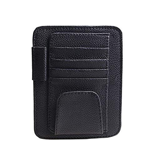 Zhenci Car Sun Visor Card Holder, Universal Car Sunshade Storage Case Auto Styling Accessories Car Sun Visor Organizer Slot Plate Holder(Black)