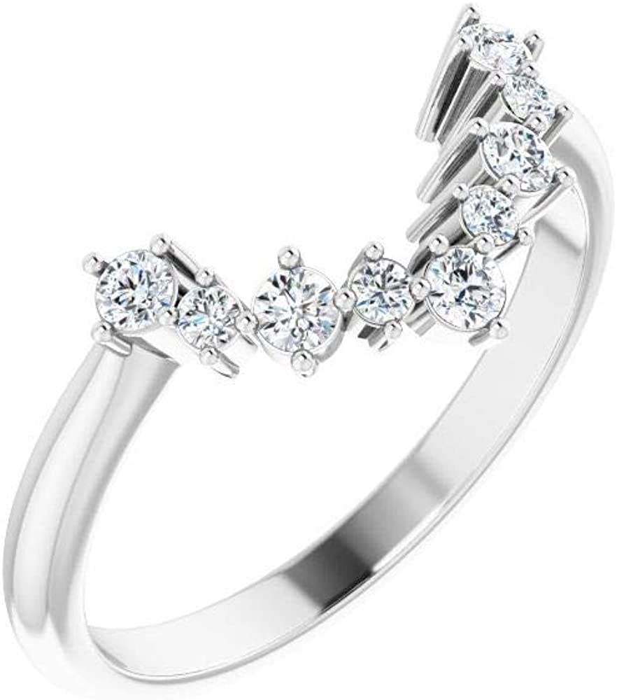 Solid Platinum Solitaire 1/5 Cttw Diamond Matching Ring Band - Size 7 (.20 Cttw) (Width = 8.4mm)